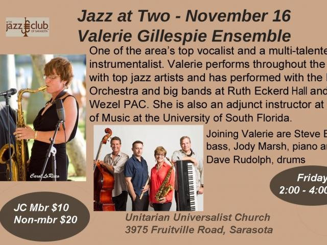 Jazz at Two featuring the Valerie Gillespie Ensemble