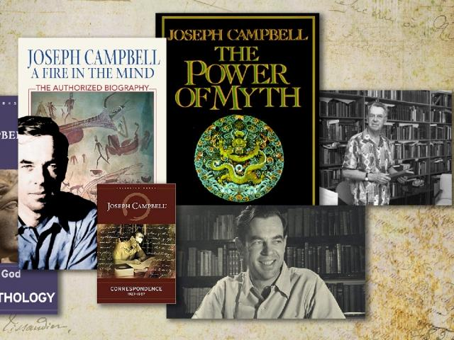 Collage of Joseph Campbell book covers and photos.