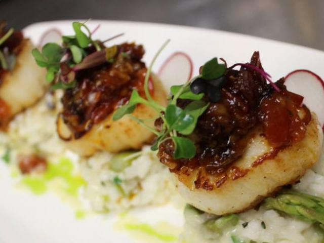 Seared Diver Scallops - Pan caramelized, asparagus lemon thyme risotto, tomato bacon jam, sherry butter