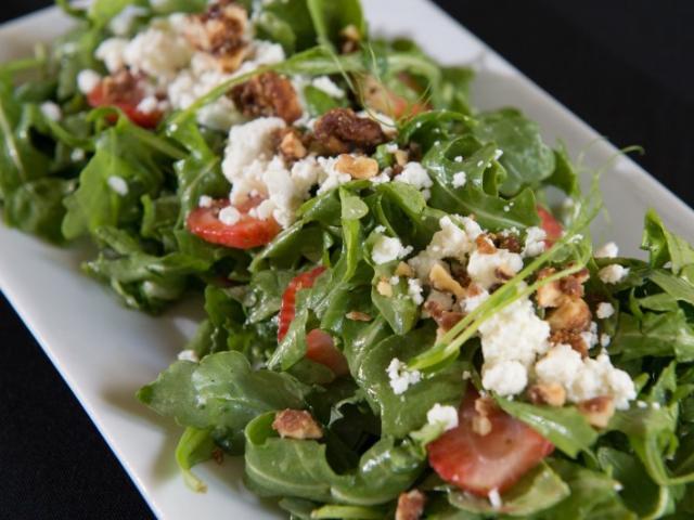 Arugula Salad - Strawberries, almonds, goat cheese, honey passionfruit vinaigrette