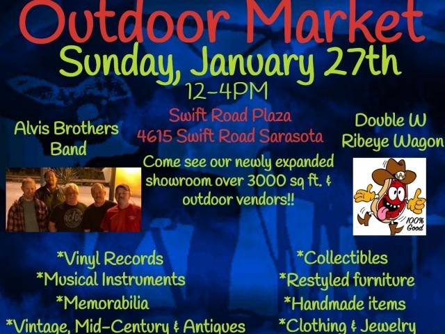 South Sarasota's only Eclectic Multi-Vendor Store, The Blue Heirloom Outdoor Market Sunday, January 27th, 12-4PM. Swift Road Plaza, 4615 Swift Road Sarasota, FL 34231. Alvis Brothers Band, Double W Ribeye Wagon, Vintage, Mid-Century, Antiques, Musical Instruments, Clothing, Jewelry, Handmade items,