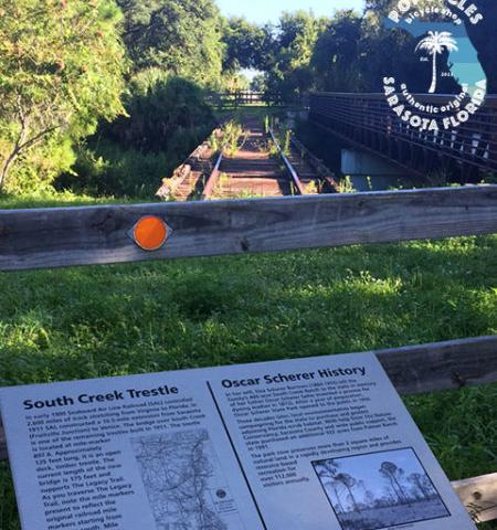 Old train trestle history Oscar Scheer Park