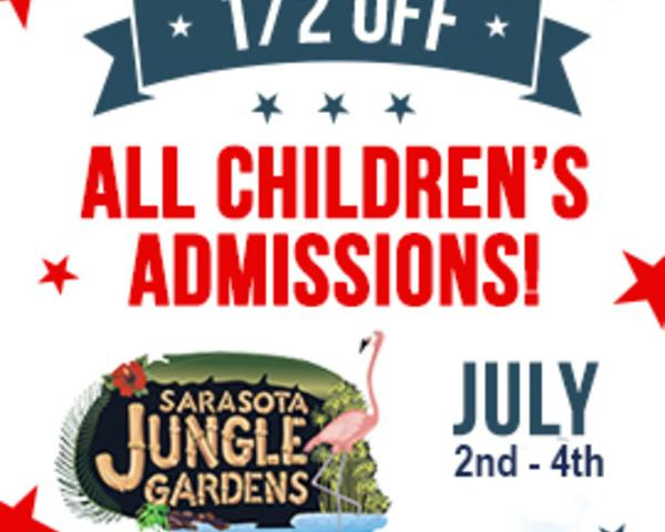 1/2 Off Children's Admission - Celebrate the 4th of July at Sarasota Jungle Gardens.  Enjoy 1/2 OFF All Children's Admissions July 2nd - 4th, 2018.