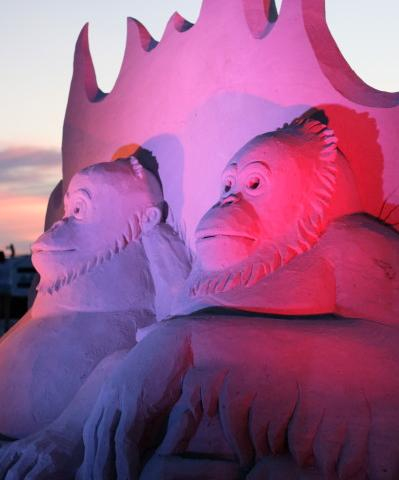 Siesta Key Crystal Classic International Sand Sculpting Festival - Sculptures at nighttime