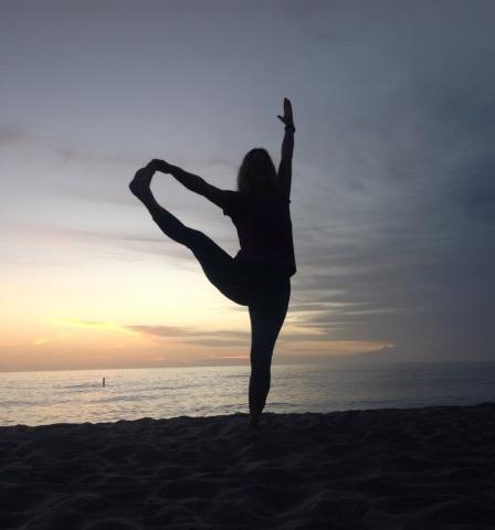 Sunset Yoga on Manasota Beach - Yoga pose in front of Sunset at Manasota Beach