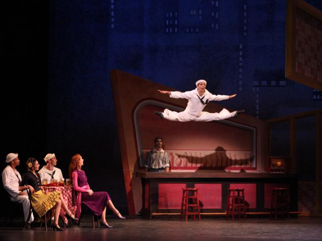 The Sarasota Ballet in Jerome Robbins' Fancy Free - Photo by Frank Atura - The Sarasota Ballet in Jerome Robbins' Fancy Free, dancer featured Alex Harrison - Photo by Frank Atura