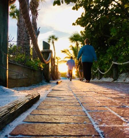 """Direct beach access - Located gulf-side just 80 yards to """"World-famous Crescent Beach,"""" offering direct beach access. Whether it's an early morning stroll for yoga or an evening walk for sunset... our private brick paved walk way will lead you straight to paradise."""
