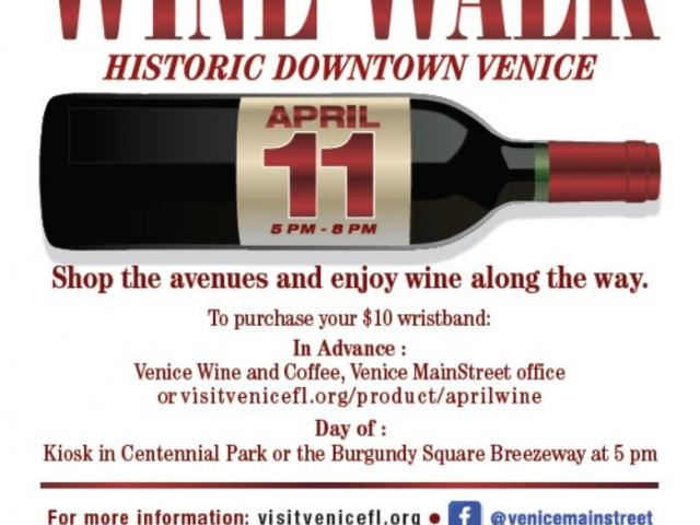Historic Downtown Venice Wine Walk; April 11, 2019.