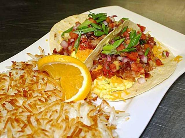 Zeke's Breakfast Tacos - Zeke's Breakfast Tacos with Hashbrowns