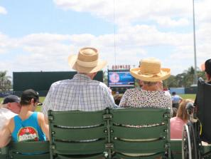 couple sitting at an orioles spring training game in sarasota