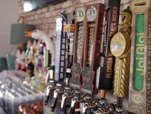 Line of beer taps in a sarasota restaurant