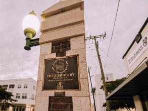 Sign showing The Rosemary District in downtown Sarasota