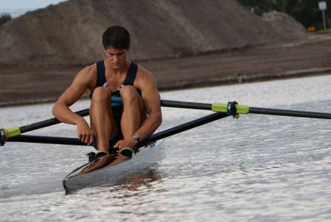 Travis Taafe rowing at Nathan Benderson Park.  Photo credit: Eddie Kirsch.