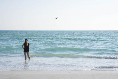 Girl alone on Siesta Key