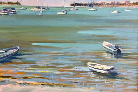 A plein air painting of the Sarasota Bayfront