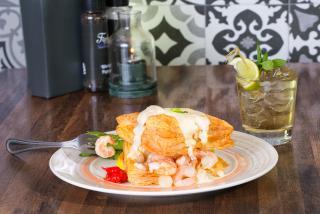Seafood dinner plate from sarasota restaurant