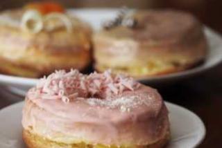 Three donuts from ofkors bakery in sarasota florida