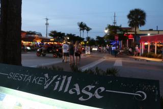Siesta Key Village at night