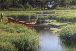 "Joseph McGurl, ""The Red Boat""  Joseph is a Guest Artist this year.  He is doing two sold out workshops for the Light Chasers and will do a Free Demo for the Light Chasers.  We are also co sponsoring a show at Palm Avenue Fine Arts Gallery opening on April"