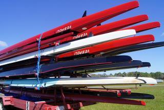 Rowing Boats at Nathan Benderson Park.  Photo credit: Robin Draper.