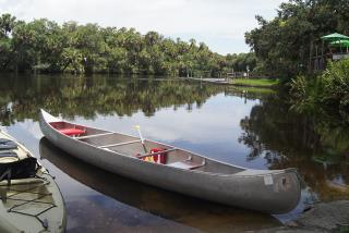 Idle canoes at Snook Haven.  Photo credit: Robin Draper
