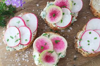 Radish Crostini.  Photo credit: Robin Draper