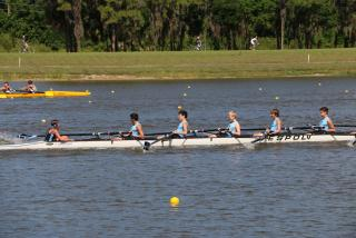 Youth athletes rowing at nathan benderson park in sarasota florida