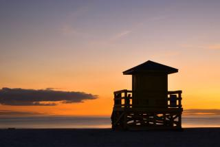 Siesta Key Lifeguard stand at dusk