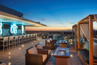 The event space on the Westin Rooftop. This overlooks downtown Sarasota, Florida, and is one of the best views in town!